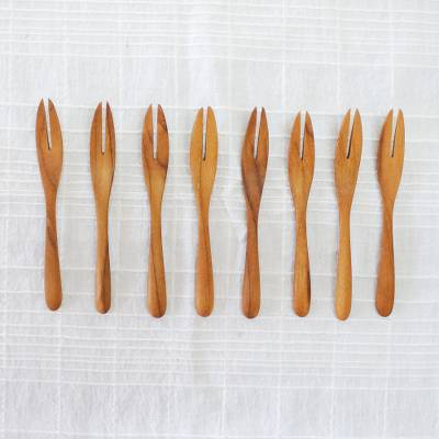 Teak wood canape forks, 'Invitation' (set of 8) - Set of 8 Hand-Carved Teak Wood Canape Forks from Thailand