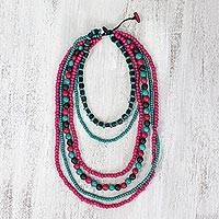 Wood beaded necklace, 'Tropical Life' - Teal and Fuschia Boxwood Beaded Multi-Strand Necklace