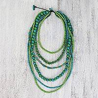 Beaded wood necklace, 'Tropic Garden' - Green Wooden Bead Necklace with Multiple Strands