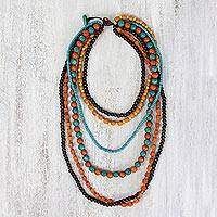 Beaded wood necklace, 'Tropic Sweets' - Multicolored Wood Multistrand Necklace from Thailand