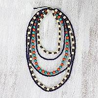 Beaded wood necklace, 'Tropic Summer' - Beaded Wood Necklace in Multicolor from Thai Artisan