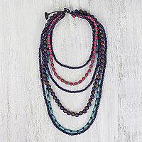 Beaded wood necklace, 'Tropic Storm' - Multi Strand Multicolored Wood Bead Necklace