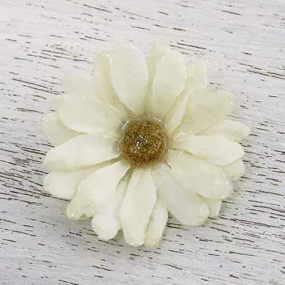 Natural aster brooch pin, 'Let It Bloom in Vanilla' - Natural Aster Flower Brooch in Vanilla from Thailand