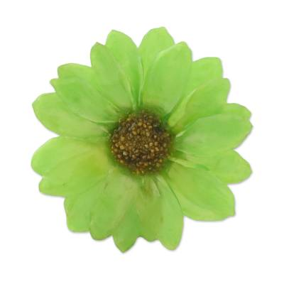 Natural Aster Flower Brooch in Spring Green from Thailand