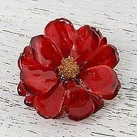 Natural cosmos brooch, 'Blooming Cosmos in Crimson' - Natural Cosmos Flower Brooch in Crimson from Thailand