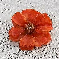 Natural cosmos brooch, 'Blooming Cosmos in Pumpkin' - Natural Cosmos Flower Brooch in Pumpkin from Thailand