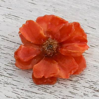 Natural cosmos brooch pin, 'Blooming Cosmos in Pumpkin' - Natural Cosmos Flower Brooch in Pumpkin from Thailand