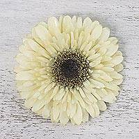 Natural gerbera brooch, 'Splendid Petals in Vanilla' - Natural Gerbera Flower Brooch in Vanilla from Thailand