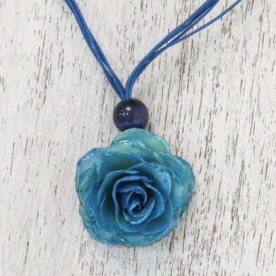 Natural rose pendant necklace, 'Rosy Chic in Teal' - Natural Rose Pendant Necklace in Teal from Thailand
