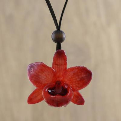 Natural orchid pendant necklace, 'Natural Feeling in Ruby' - Adjustable Natural Orchid Necklace in Ruby from Thailand