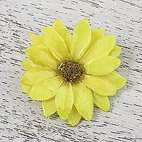 Natural flower brooch, 'Aster Delight' - Resin Yellow Aster Brooch from Thailand