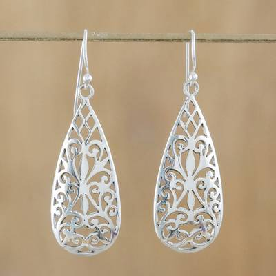 Sterling silver dangle earrings, 'Espalier' - Sterling Silver Curlicue Dangle Earrings from Thailand