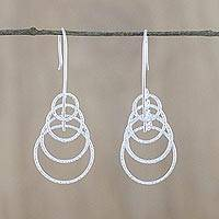 Sterling silver dangle earrings, 'Echolocation' - Handmade Sterling Silver Rings Dangle Earrings from Thailand