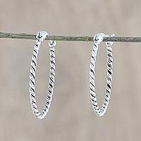 Sterling silver hoop earrings, 'Spiral Onwards' - Handmade Sterling Silver Twisted Hoop Earrings from Thailand