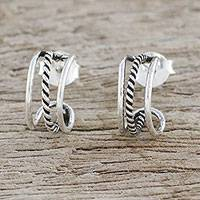 Sterling silver half-hoop earrings, 'Lines Within Lines' - Combination Finish Silver Half-Hoop Earrings from Thailand
