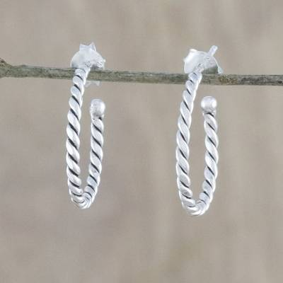 Sterling silver half-hoop earrings, 'Spiral Away' - Handcrafted Sterling Silver Half-Hoop Earrings from Thailand