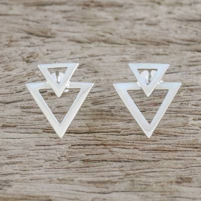 Sterling silver button earrings, 'Trendy Triangles' - Sterling Silver Triangles Button Earrings from Thailand