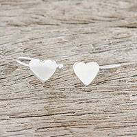 Sterling silver ear cuffs, 'Petite Hearts' - Handcrafted Sterling Silver Heart Ear Cuffs from Thailand
