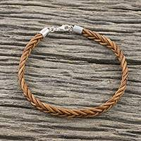 Leather wristband bracelet, 'Style and Strength in Copper' - Leather Braided Wristband Bracelet in Copper from Thailand
