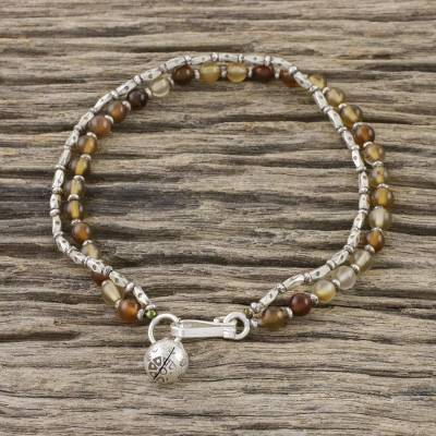 Agate beaded bracelet, 'Ethnic Fantasy' - Agate and Karen Silver Beaded Bracelet from Thailand