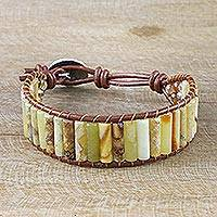 Jasper and agate wristband bracelet, 'Bamboo Band' - Hand Threaded Jasper Leather Cord Bracelet from Thailand