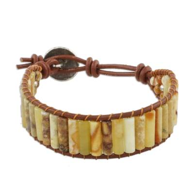 Hand Threaded Jasper Leather Cord Bracelet from Thailand
