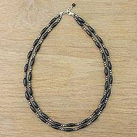 Onyx and hematite beaded necklace, 'Party at Midnight' - Two-Strand Onyx Beaded Necklace from Thailand