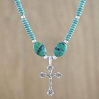 Serpentine pendant necklace, 'Love For God' - Serpentine and Calcite Cross Pendant Necklace from Thailand