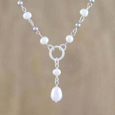 Cultured pearl pendant necklace, 'Perfect Glow' - Cultured Pearl Station Pendant Necklace from Thailand
