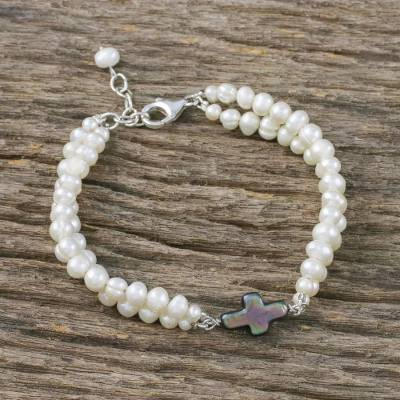 Cultured pearl pendant bracelet, 'Divine Adoration' - Cultured Pearl Cross Pendant Bracelet from Thailand