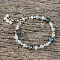 Cultured pearl beaded bracelet, 'Mysterious Woman' - Cultured Pearl Beaded Bracelet with Charm from Thailand