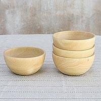 Wood bowls, 'Family Dining' (10 ounce, set of 4) - Four Handcrafted Wood Bowls (10 Oz, Set of 4)