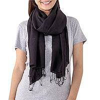 Silk scarf, 'Midnight Temptation' - Fringed Silk Wrap Scarf in Solid Black from Thailand