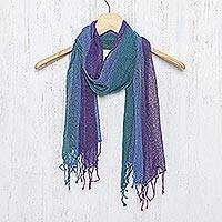 Silk scarf, 'Mists of Tomorrow' - Handwoven Blue Teal and Purple Silk Scarf from Thailand