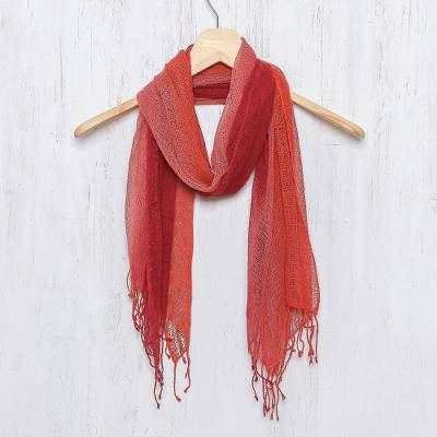 Silk scarf, 'Changing Leaves' - Artisan Handwoven Red Orange Silk Scarf from Thailand