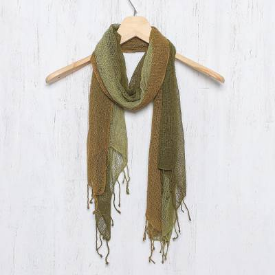 Silk scarf, 'Olive Woodlands' - Artisan Handwoven Green Fringed Silk Scarf from Thailand