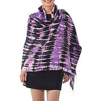 Silk shawl, 'Purple Monarch' - Handwoven Black and Purple Tie-Dye Silk Shawl from Thailand