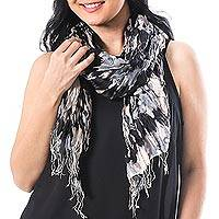 Silk shawl, 'Monochrome Monarch' - Handwoven Black and Grey Tie-Dye Silk Shawl from Thailand