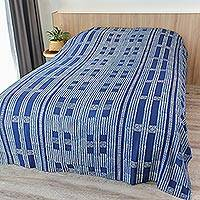 Cotton coverlet, 'Indigo Dreams' (twin) - Hand Stamped Batik Coverlet in Indigo and White (Twin)