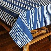 Cotton batik tablecloth, 'Bamboo Forest' (59x118) - Blue and White All Cotton Tablecloth with Batik (59x118)
