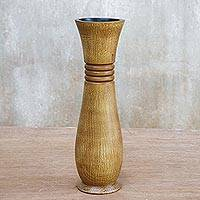Wood decorative vase, 'Gift of Nature in Brown' - Lacquer Mango Wood Decorative Vase in Brown from Thailand