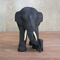 Teakwood elephant statuette, 'Heading Home' - Teakwood Elephant Statuette from Thailand