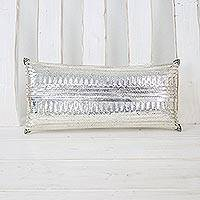Silver plated clutch handbag, 'Silver Nights' - Woven Silver Plated Brass Clutch Handbag