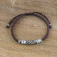 Silver beaded cord bracelet, 'Ancient Aura' - Thai Handcrafted Silver Beaded Espresso Cord Bracelet