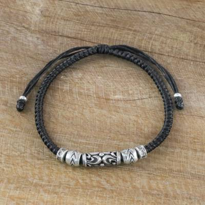 Silver beaded cord bracelet, 'Ancient Spirit' - Thai Artisan Crafted Silver Beaded Ebony Cord Bracelet