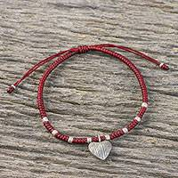 Silver charm bracelet, 'Ancient Heart in Red' - Dark Red Braided Cord Bracelet with Hill Tribe Silver