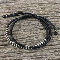 Silver beaded cord bracelet, 'Everyday Thai in Jet Black' - Black Braided Cord Bracelet with Silver 950 Beads