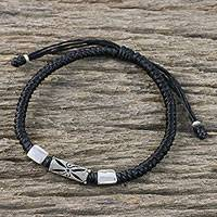 Silver pendant bracelet, 'Karen Triangle in Black' - Silver 950 and Black Braided Cord Bracelet