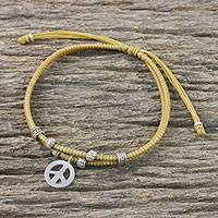Silver beaded cord bracelet, 'Peace Charm' - Honey Colored Cord Bracelet with Silver Peace Charm