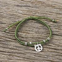 Silver beaded cord bracelet,